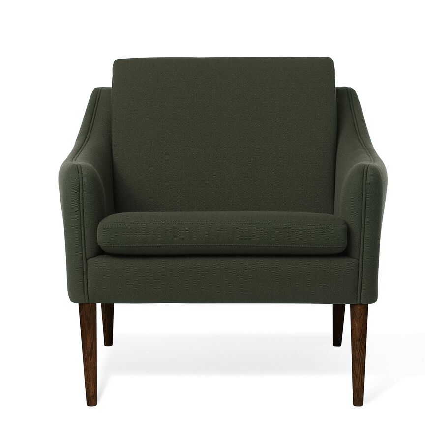 Mr. Olsen lounge chair in dark green with legs in walnut oiled oak.
