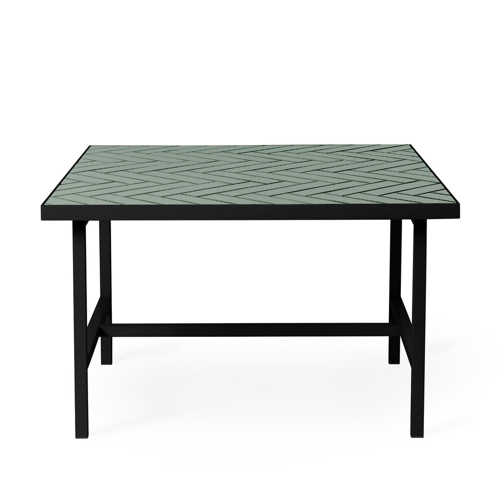Herringbone tile coffee table in forest green colour