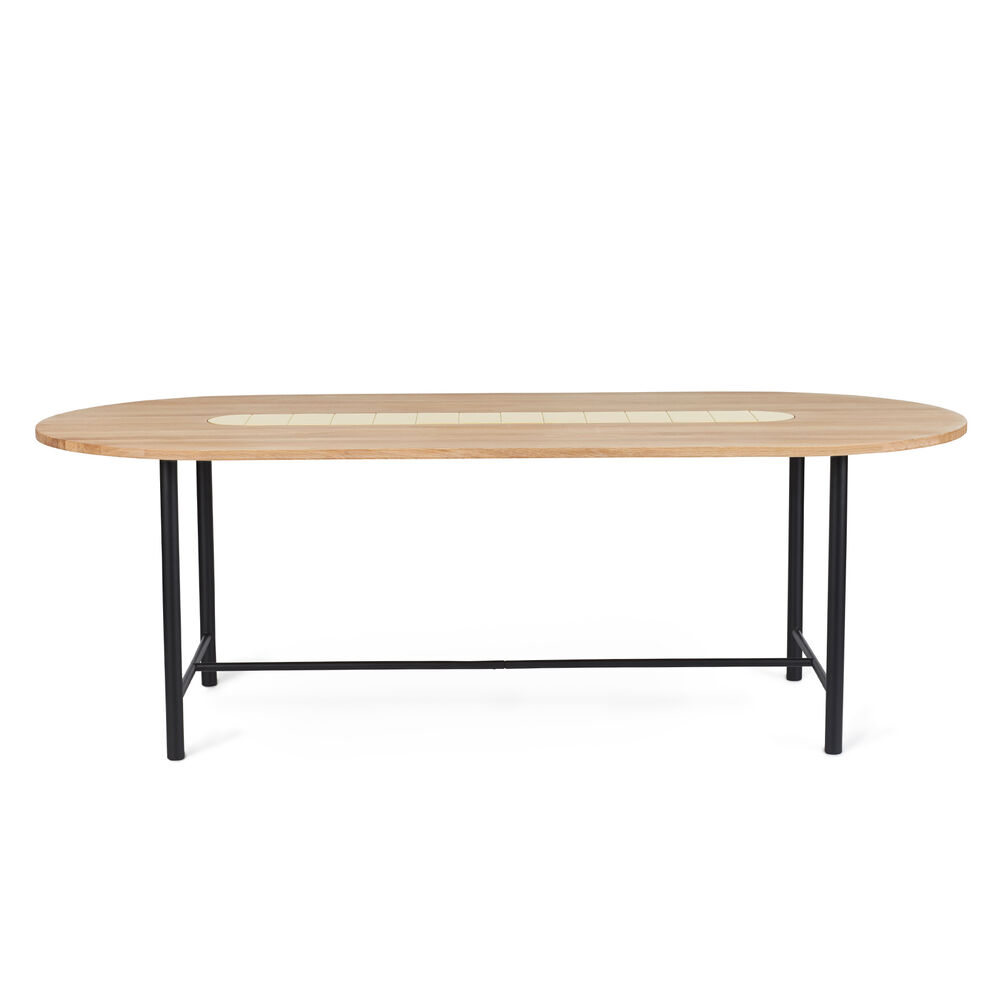 Be My Guest dining table in oiled oak with yellow ceramic, 220 cm.