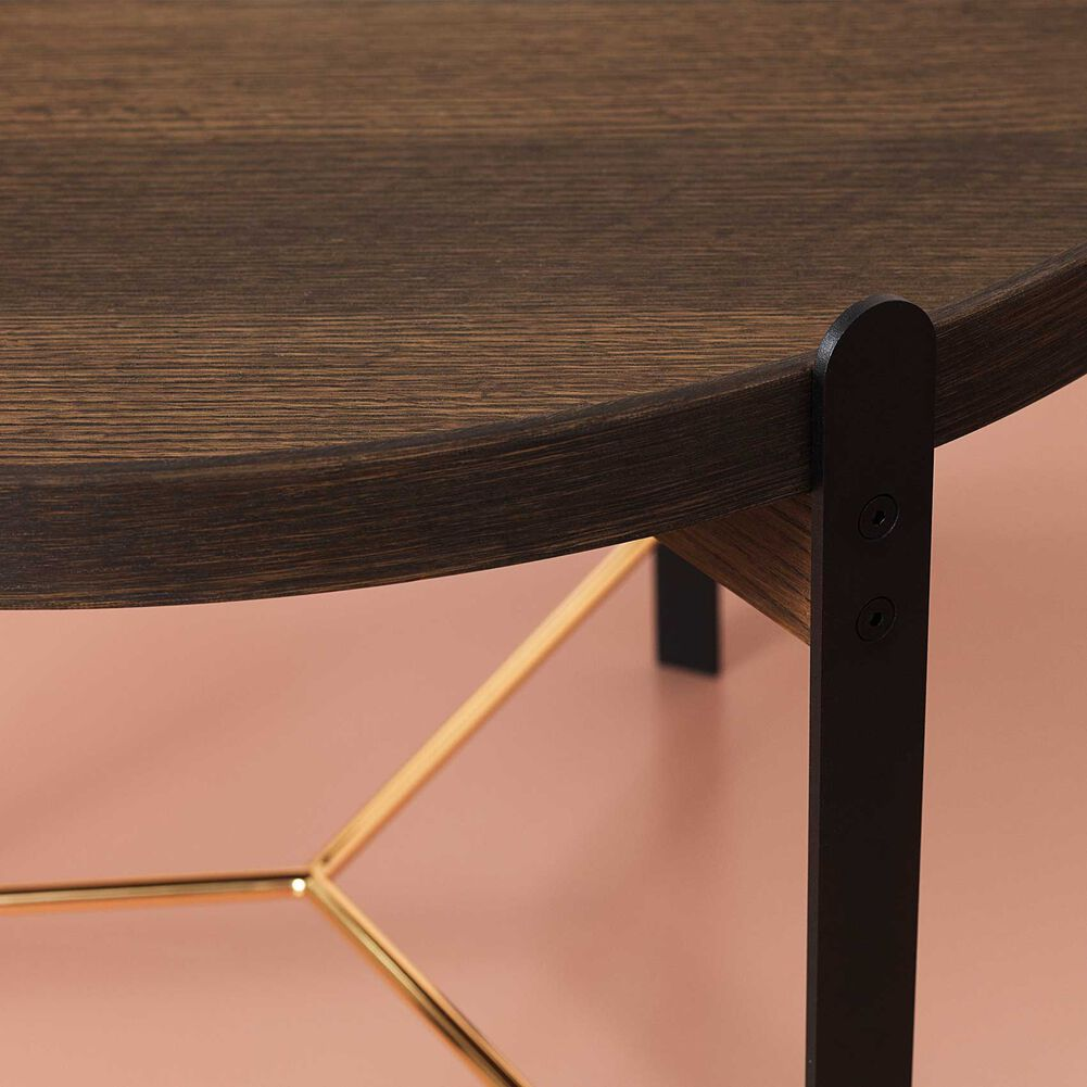 Compose coffee table in smoked oak and brass, large, details