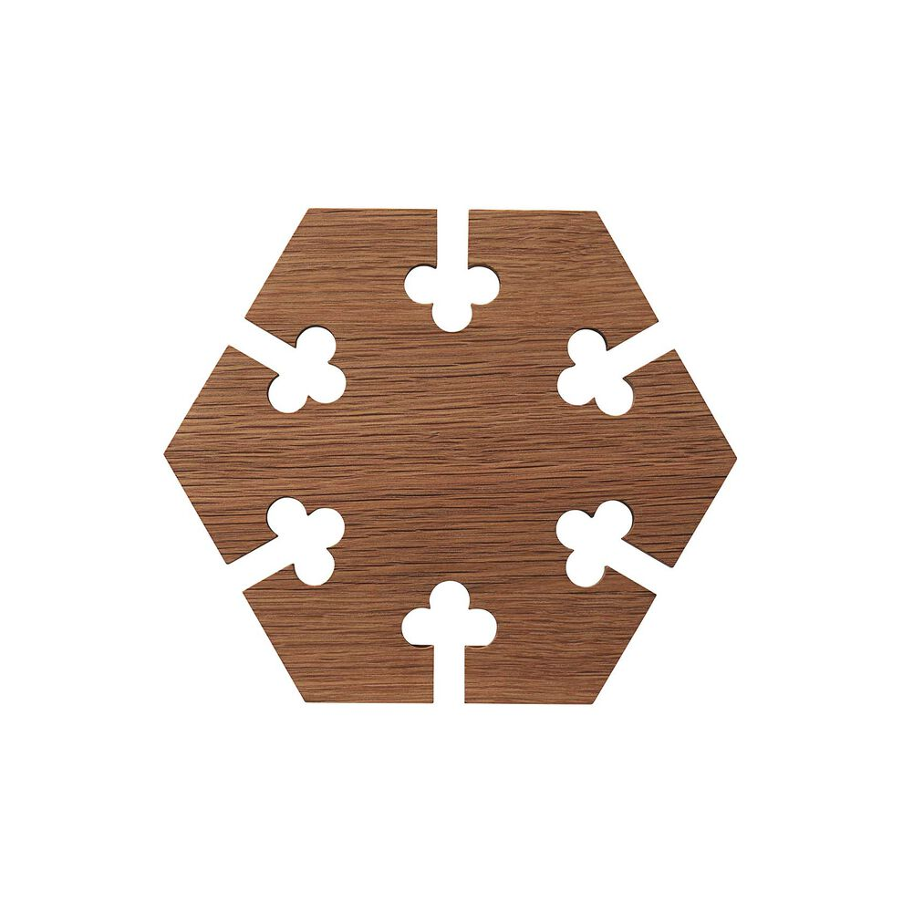 Hexagon gourmet wood trivet in walnut