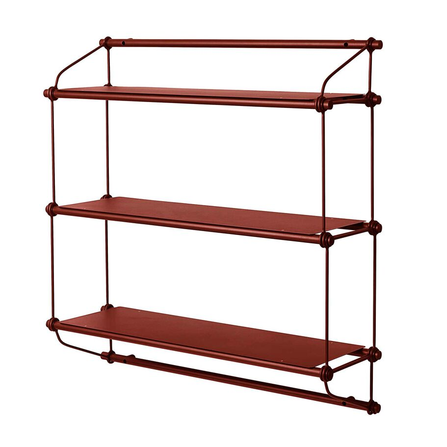 Parade shelving unit in oxide red with three shelves.