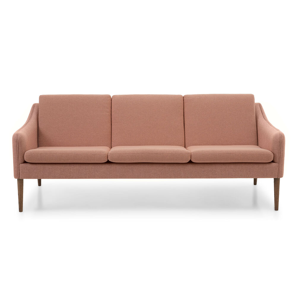 Mr. Olsen sofa 3 seater in fresh peach sustainable fabric with legs in smoked oak.