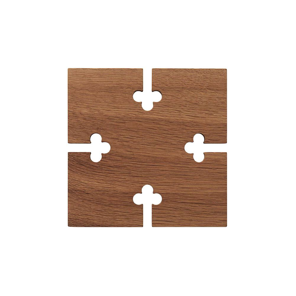 Square gourmet wood trivet in oak