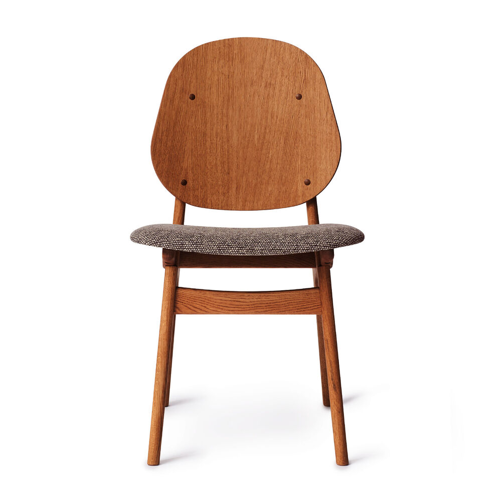 Teak noble dining chair and seat in rusty sprinkles textile