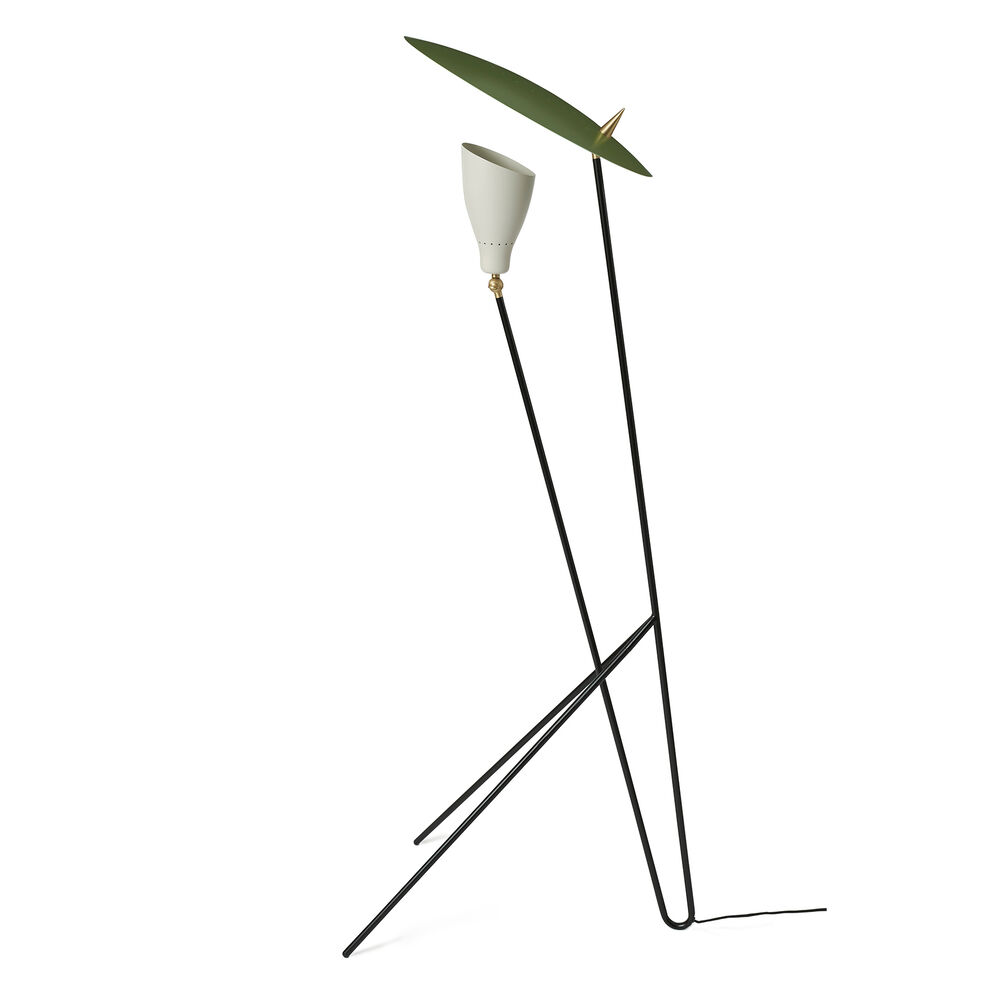 Silhouette floor lamp in warm white and pine green