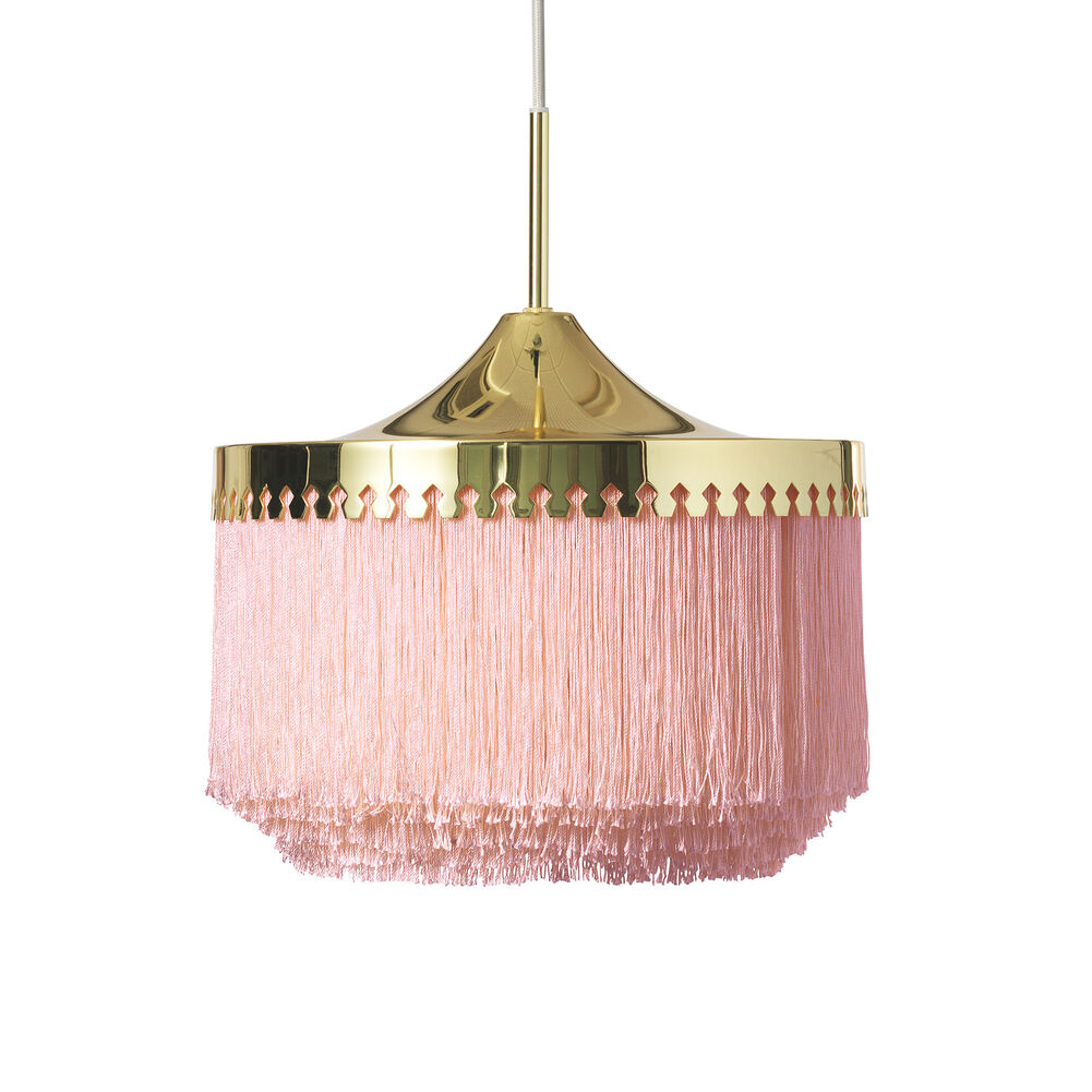 Large fringe pendant in pale pink