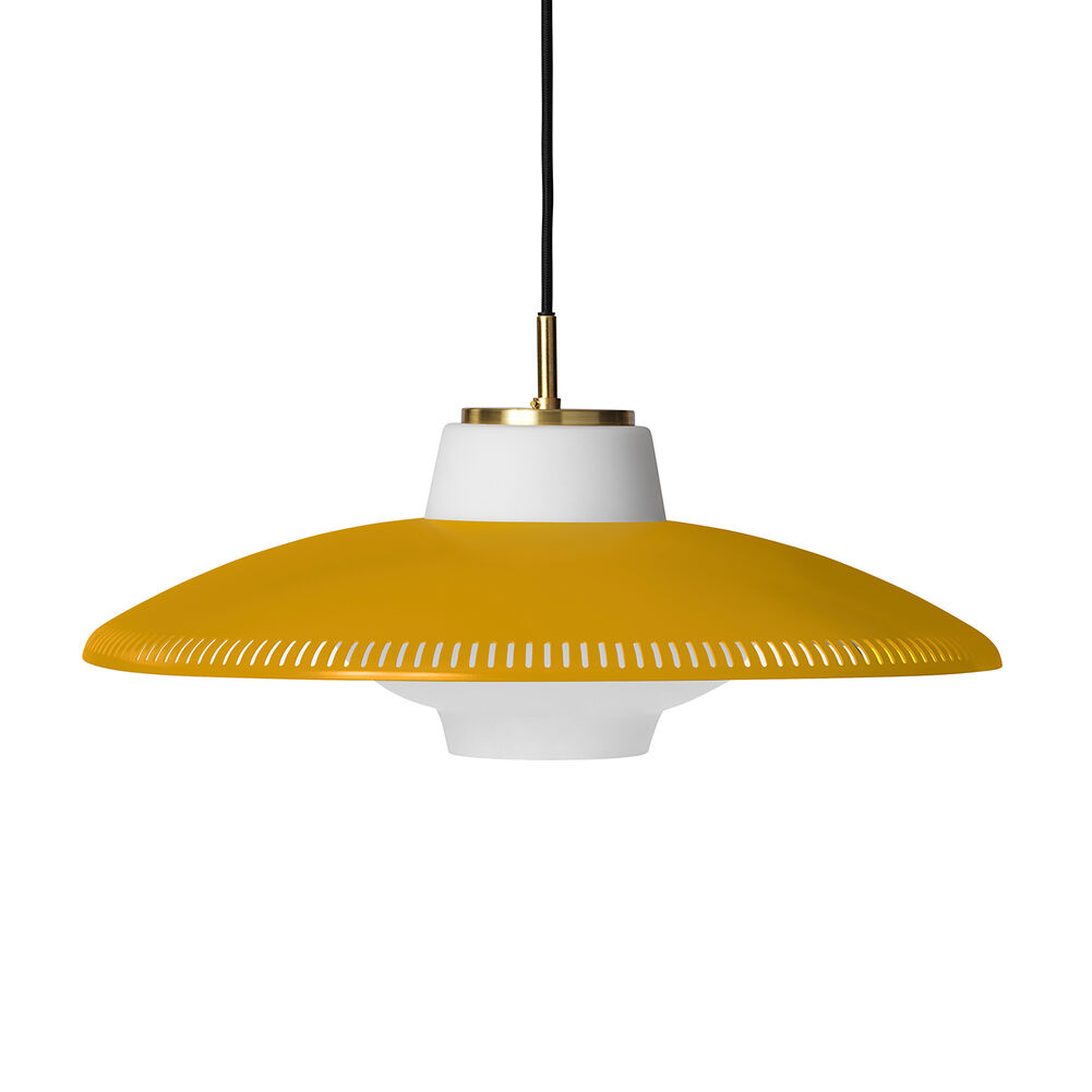 Opal shade pendant in honey yellow colour