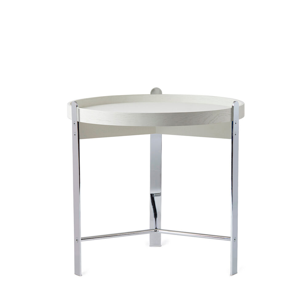 Compose coffee table in white and chrome, small.