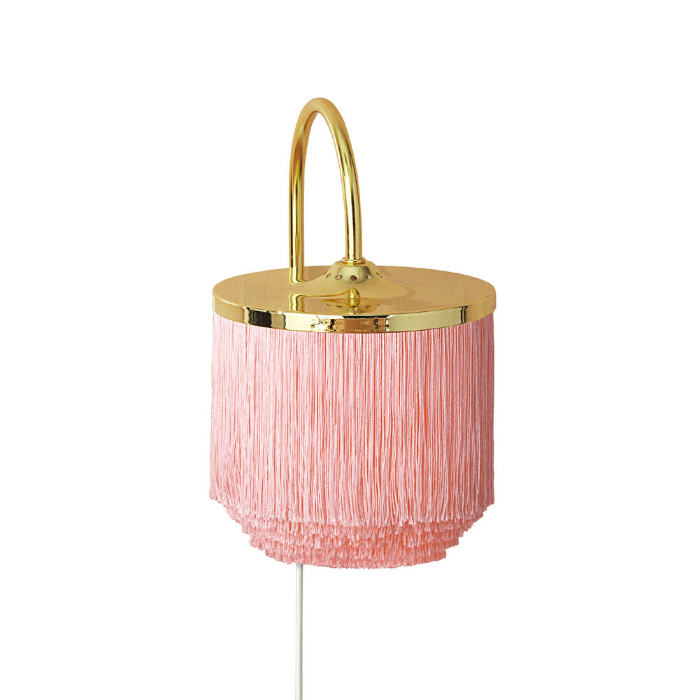 Fringe wall lamp in pale pink colour