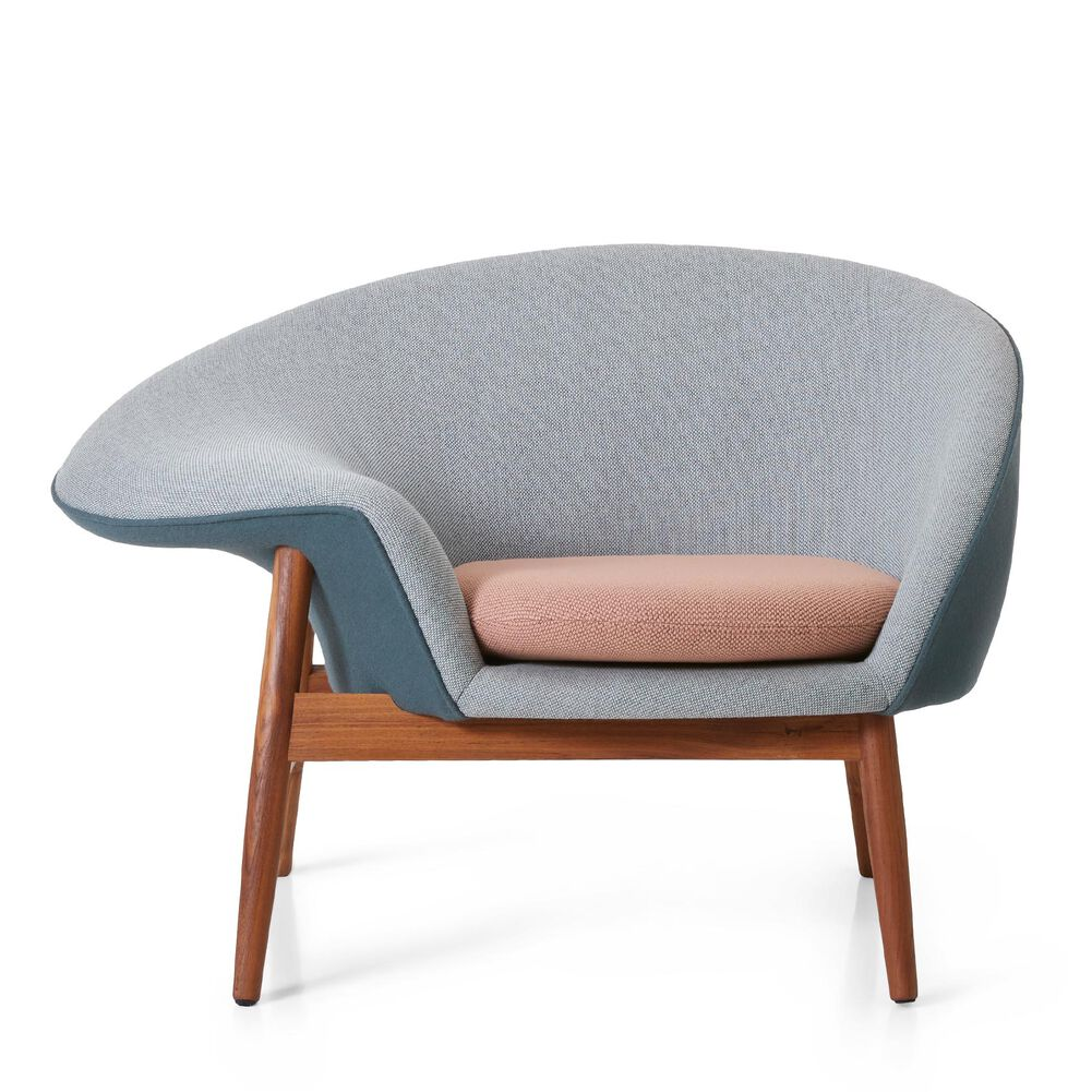 Fried Egg lounge chair in light green, blue petrol and fresh peach colour designed by Hans Olsen.