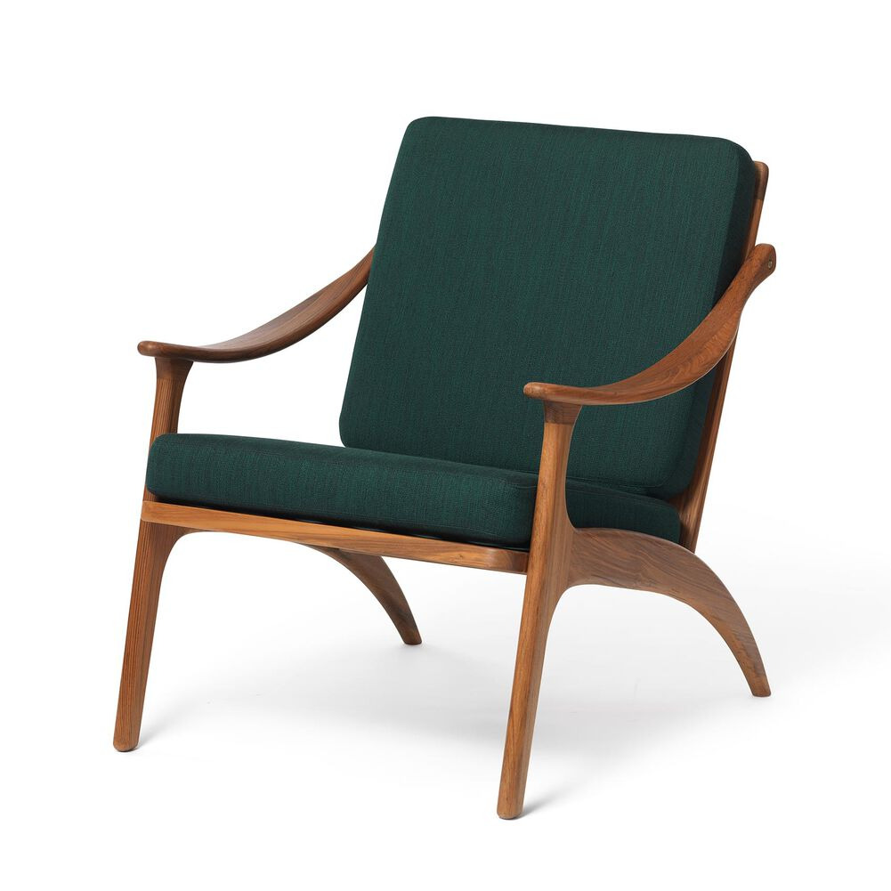 Lean Back lounge chair in teak wood and forest green.