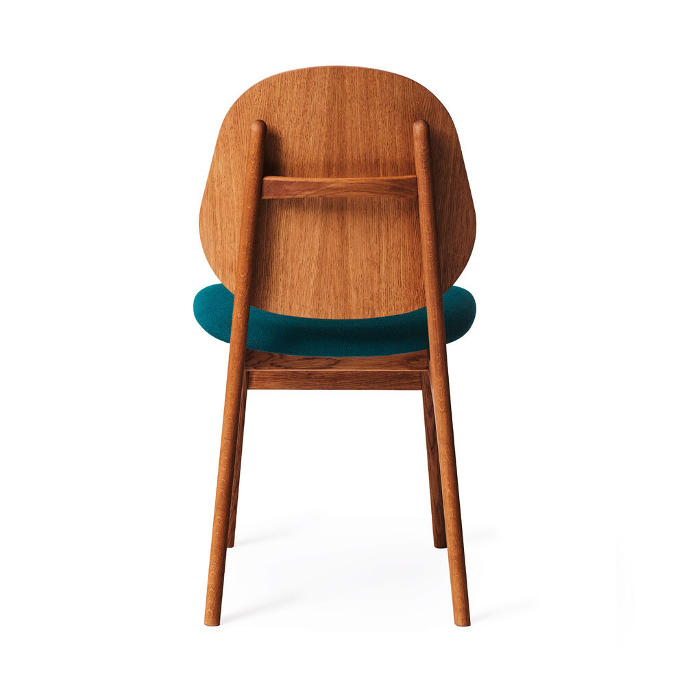 Teak noble dining chair and seat in dark turqouise textile