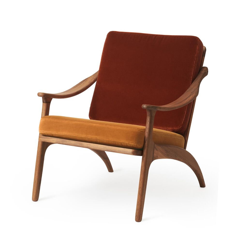 Lean Back lounge chair in teak wood, brick red and amber velvet.