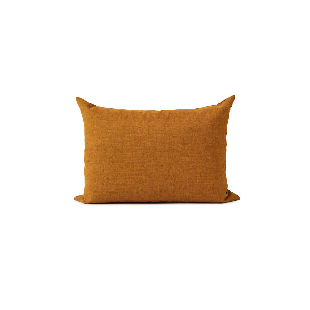 Galore square cushion in dark ochre colour.