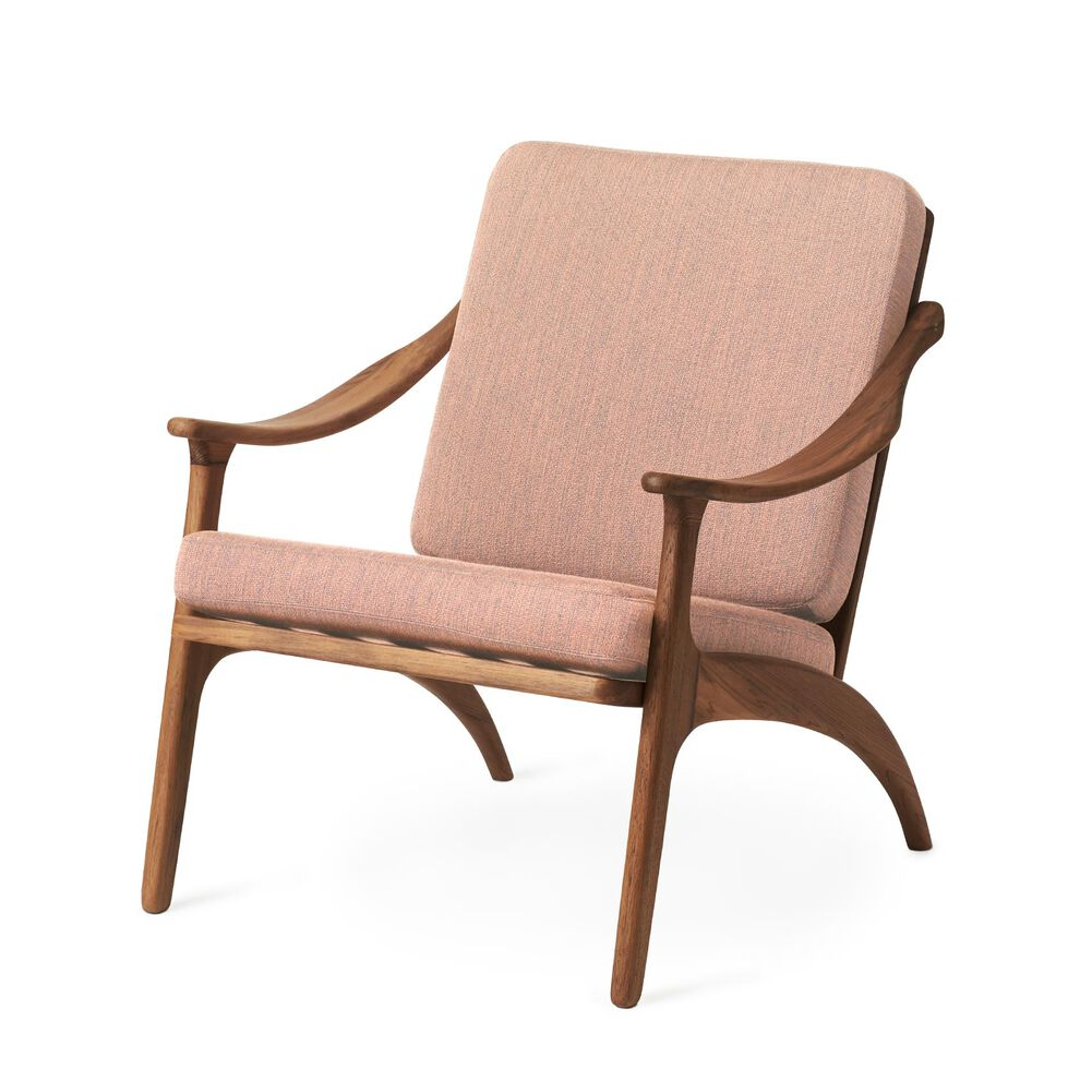 Lean Back lounge chair in teak wood and pale rose.