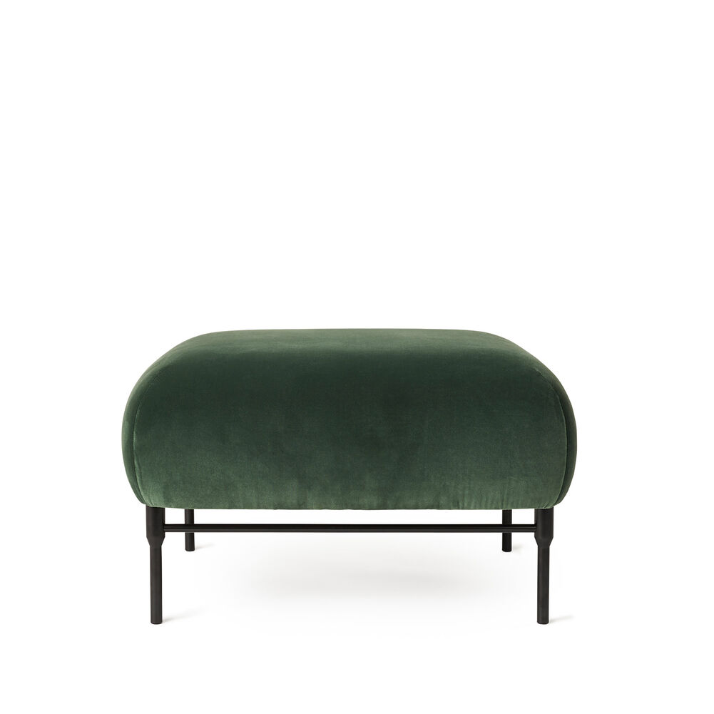 Galore pouf in forest green velvet.