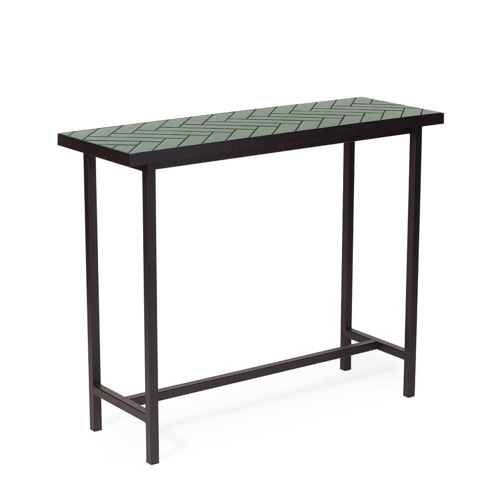 Herringbone tile console table in forest green colour