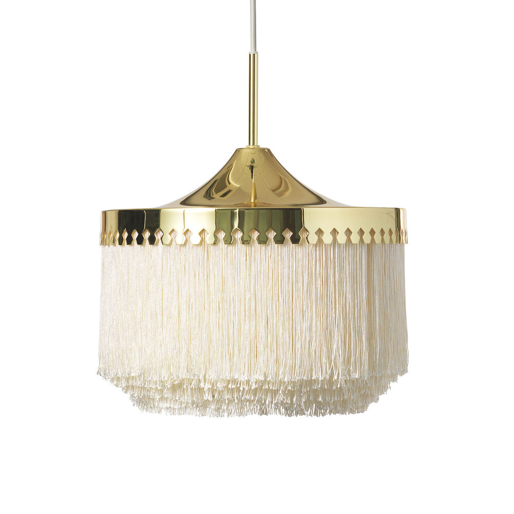 Large fringe pendant in cream white
