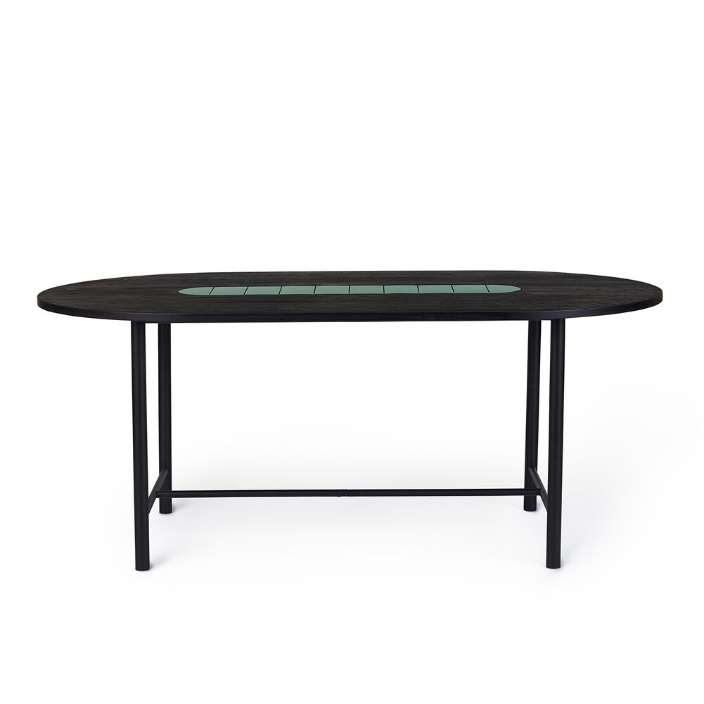 Be My Guest dining table in black oiled oak with green ceramic, 180 cm.