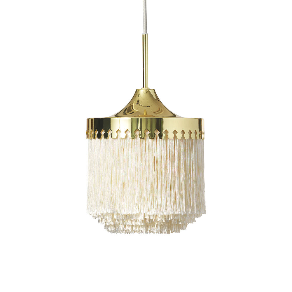Small fringe pendant in cream white