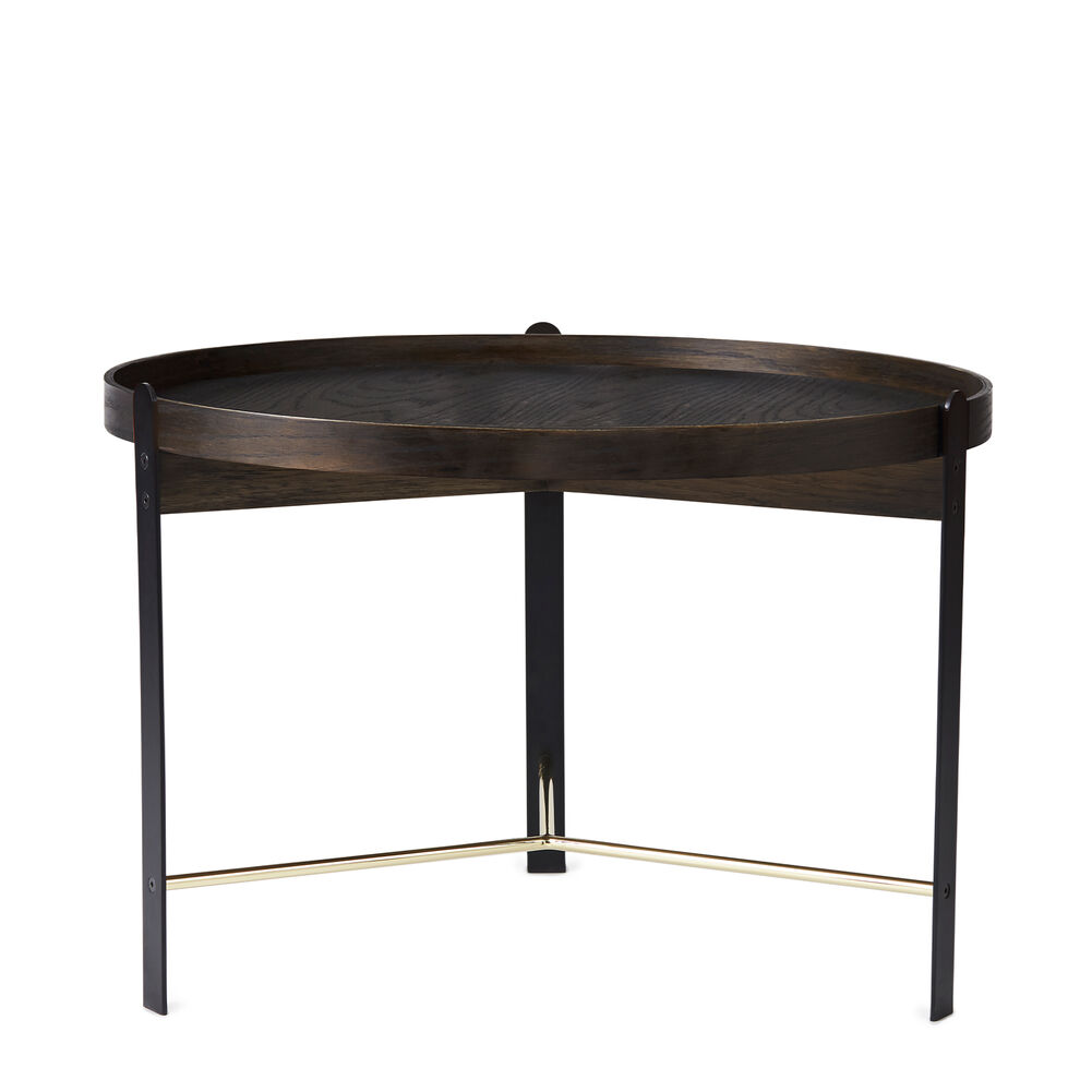 Compose coffee table in smoked oak and brass, large