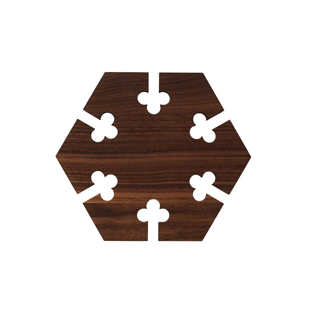 Hexagon gourmet wood trivet in oak