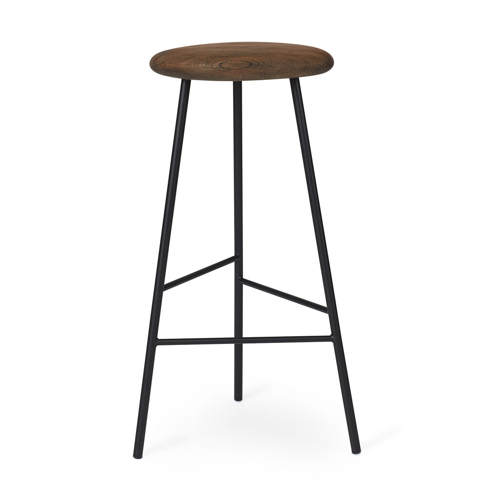 Pebble bar stools in smoked oak and black, 76 cm.