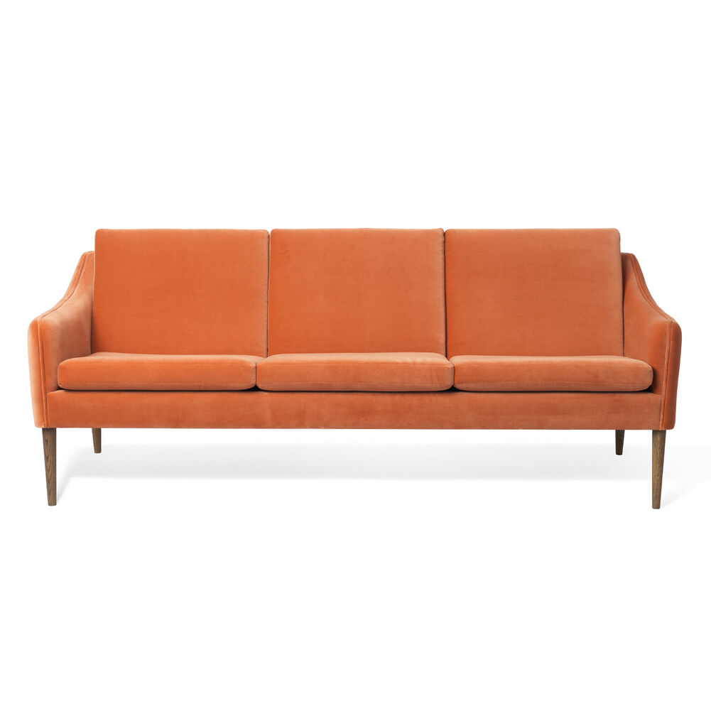 Mr. Olsen sofa 3 seater in rusty rose velvet with legs in smoked oak.