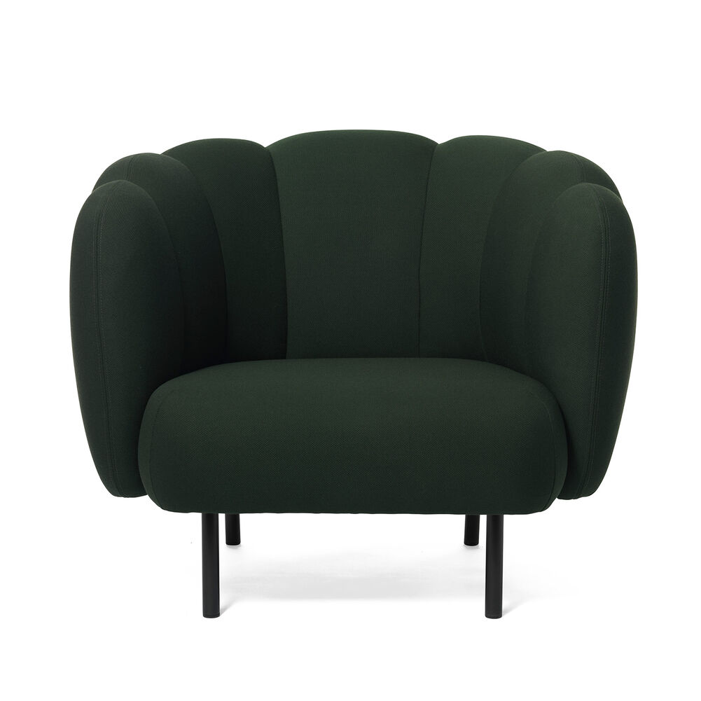 Cape lounge chair with stitches in forest green colour