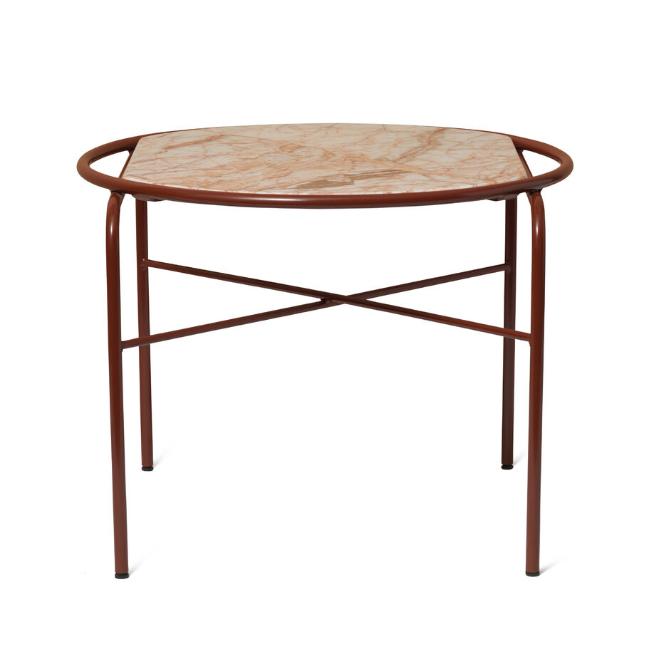 Secant table in soft rose marble.