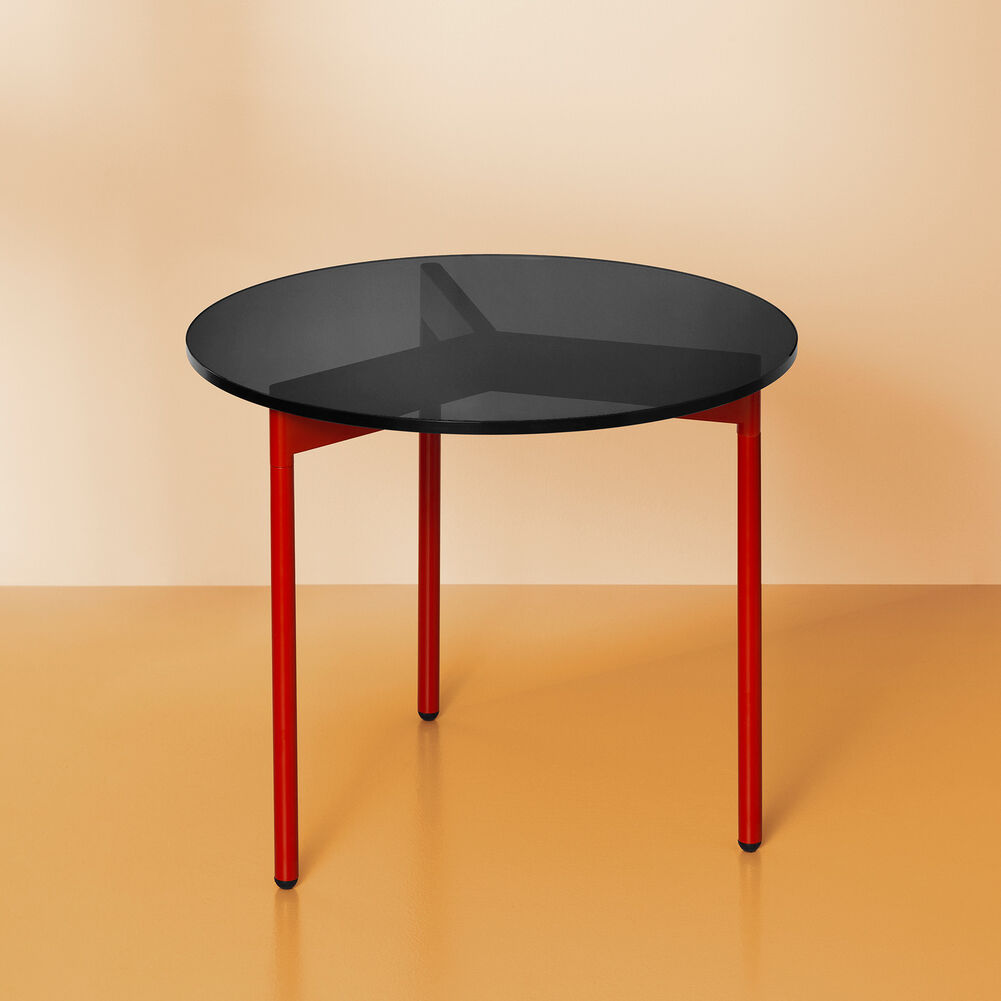 From Above side table in smoke grey and red, 52 cm.