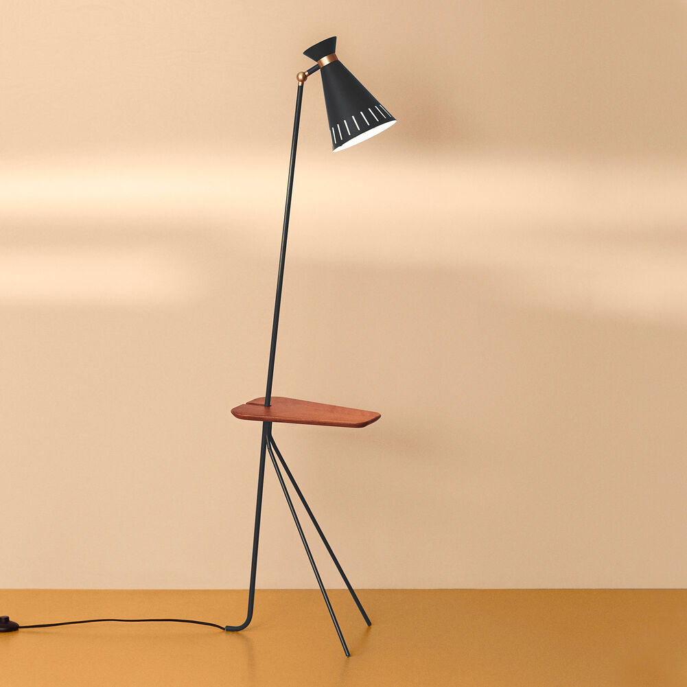 cone floor lamp in black noir