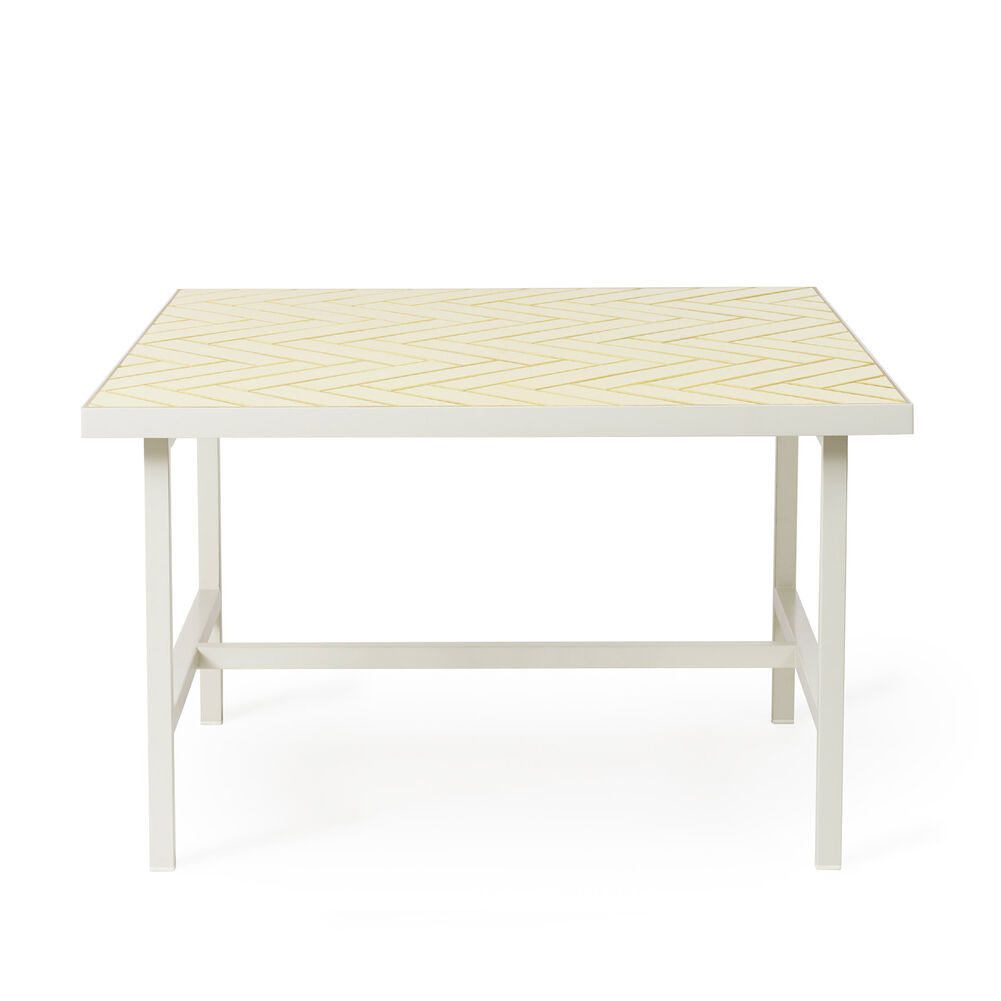 Herringbone tile coffee table in butter yellow colour
