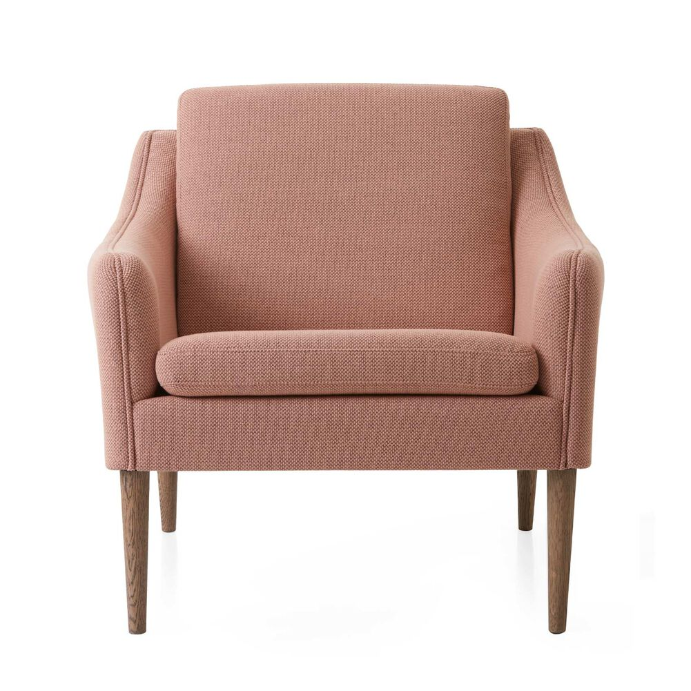 Mr. Olsen lounge chair in fresh peach sustainable fabric with legs in smoked oak.