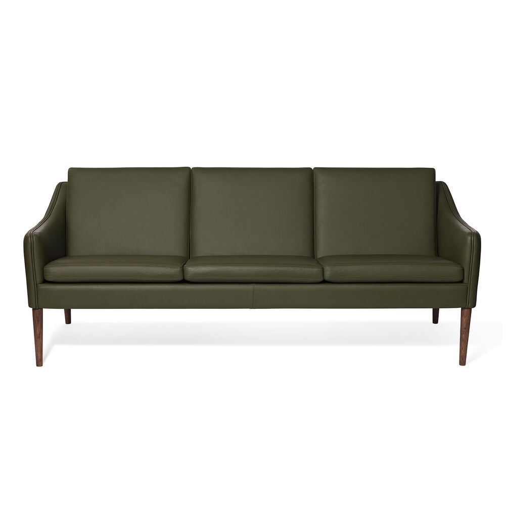 Mr. Olsen sofa in pickle green leather.