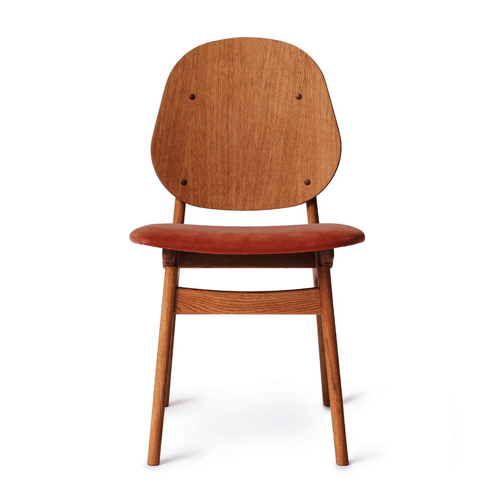 Teak noble dining chair and seat in brick red textile
