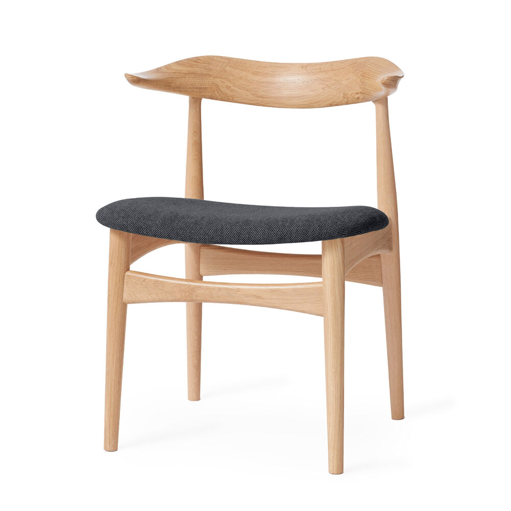 Cow Horn dining chair in oak and grey textile