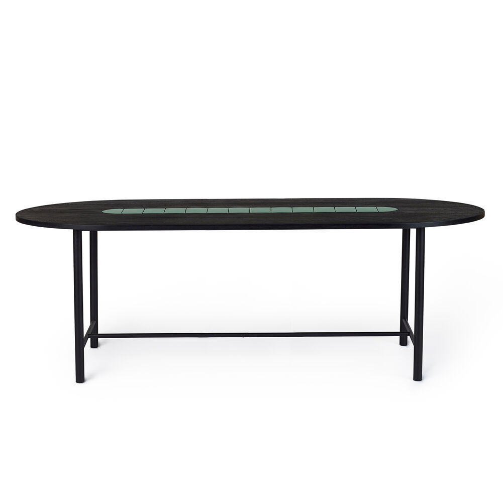 Be My Guest dining table in black oiled oak with green ceramic, 220 cm.
