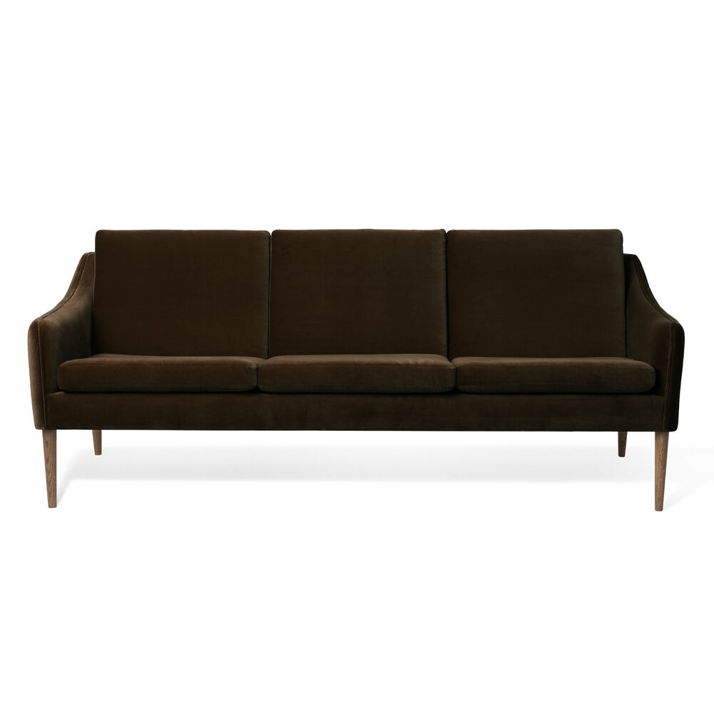 Mr. Olsen sofa 3 seater in java brown velvet with legs in smoked oak.
