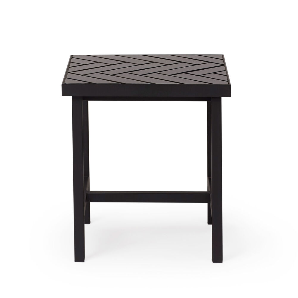 Herringbone tile sidetable in soft black colour