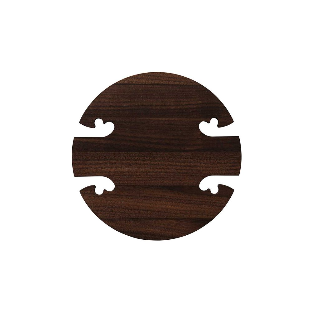 Round gourmet wood trivet in walnut