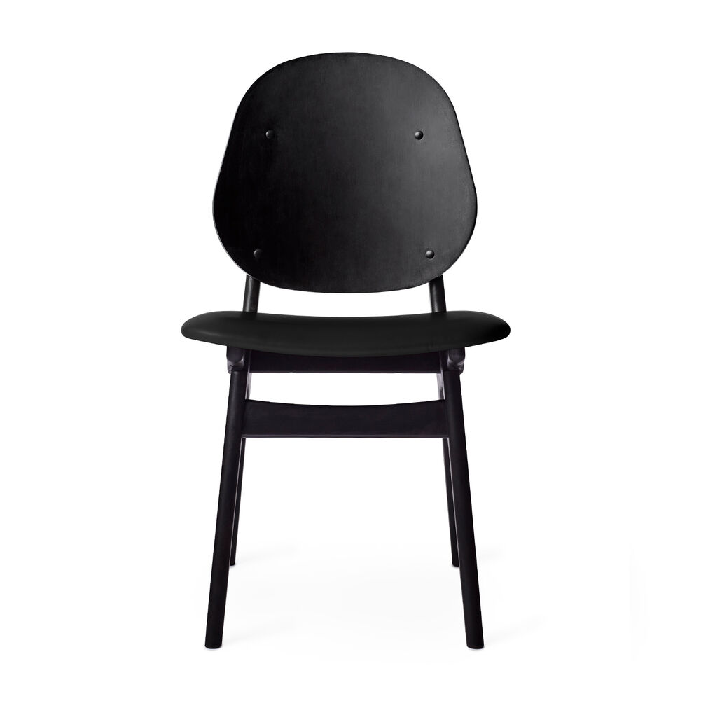 Black noble dining chair with black leather seat