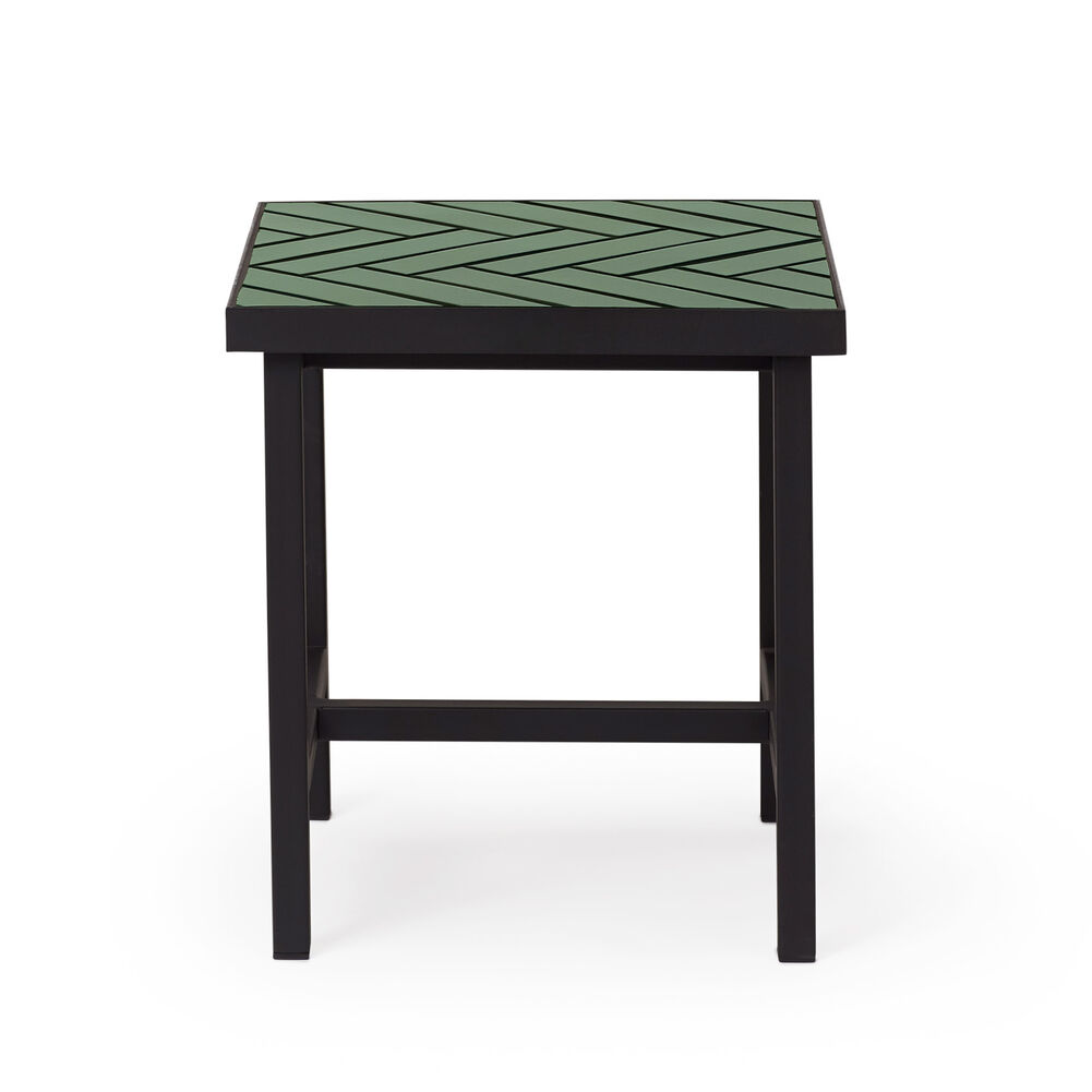 Herringbone tile sidetable in forest green colour