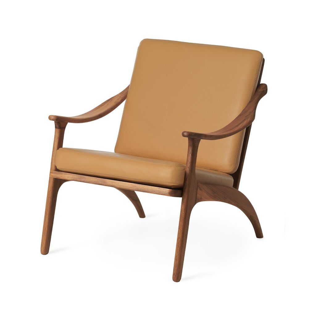 Lean Back lounge chair in teak wood and nature leather.