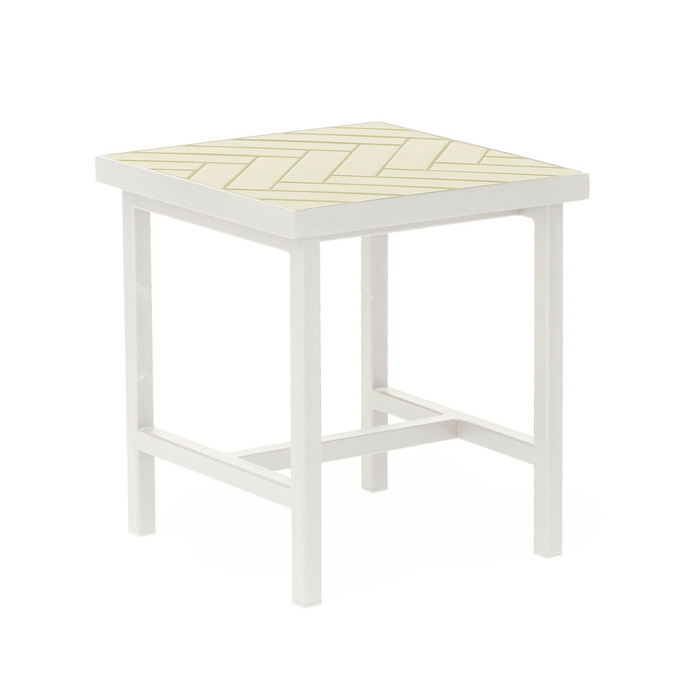 Herringbone tile sidetable in butter yellow colour