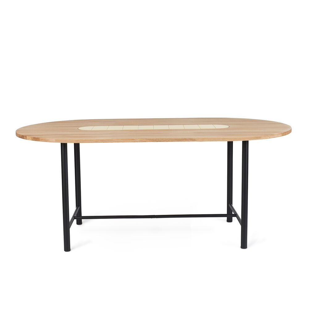 Be My Guest dining table in oiled oak with yellow ceramic, 180 cm.