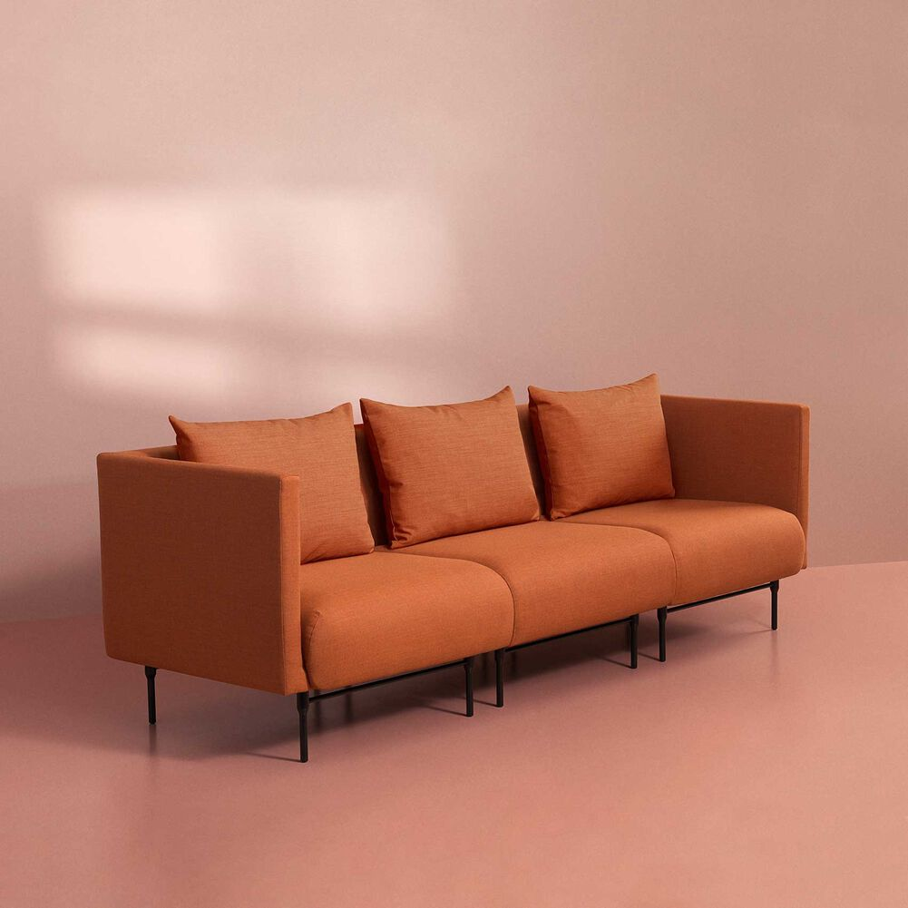 Galore sofa, 3 seater in burnt orange colour.