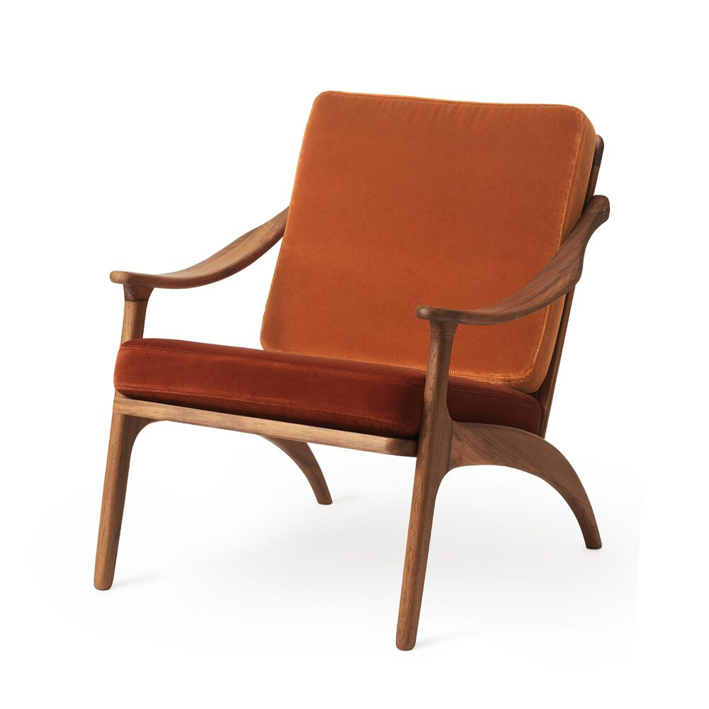 Lean Back lounge chair in teak wood, rusty rose and brick red velvet.