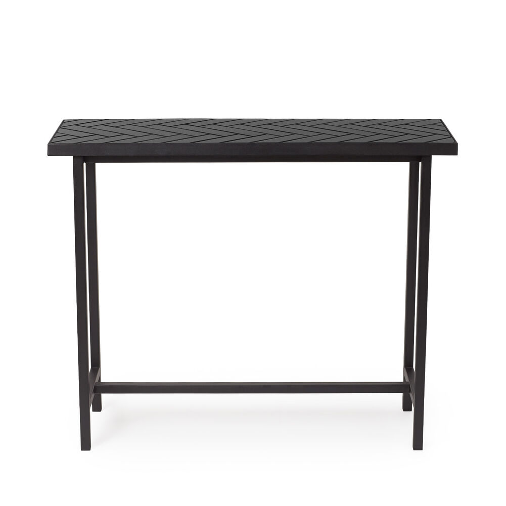 Herringbone tile console table in soft black colour
